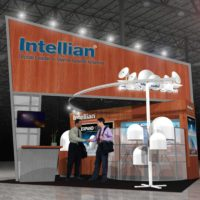 Intellian Trade Show Booth Design by Footprint Exhibits in Seattle, WA